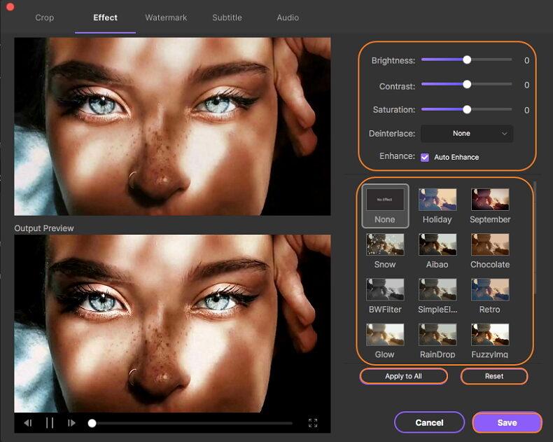 Fügen Sie den Videos Effekte und Filter hinzu