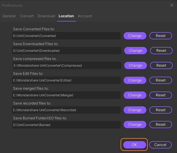إعداد Wondershare UniConverter - إعدادات الموقع