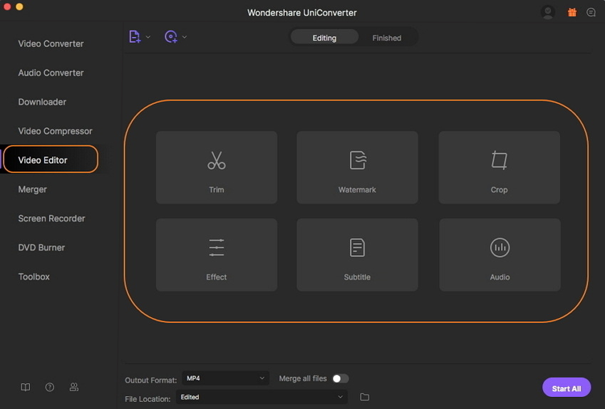 edit files with Wondershare UniConverter for Mac