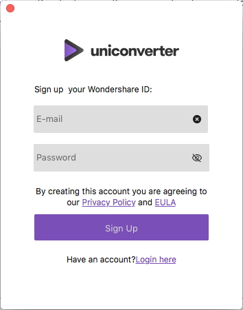 sign up UniConverter for Mac