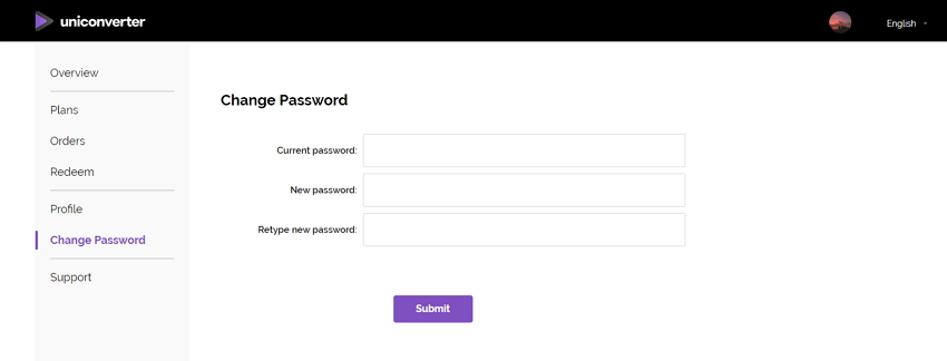 change UniConverter account password