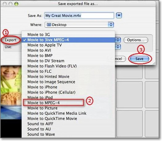 save iMovie as MP4 Files
