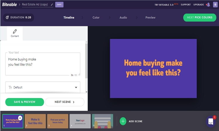 Online iMovie Alternativen zur Erstellung von Vorlagen - Biteable
