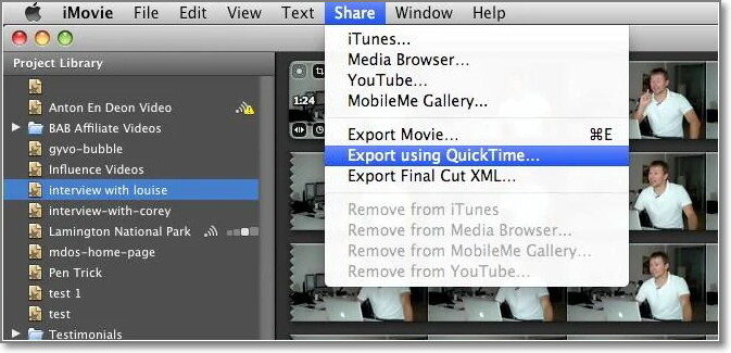Launch iMovie software and convert mp4 file