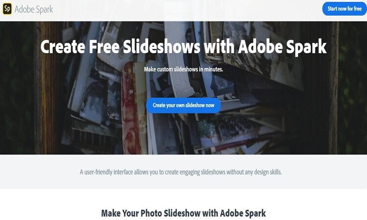make Slideshow online by Adobe Spark