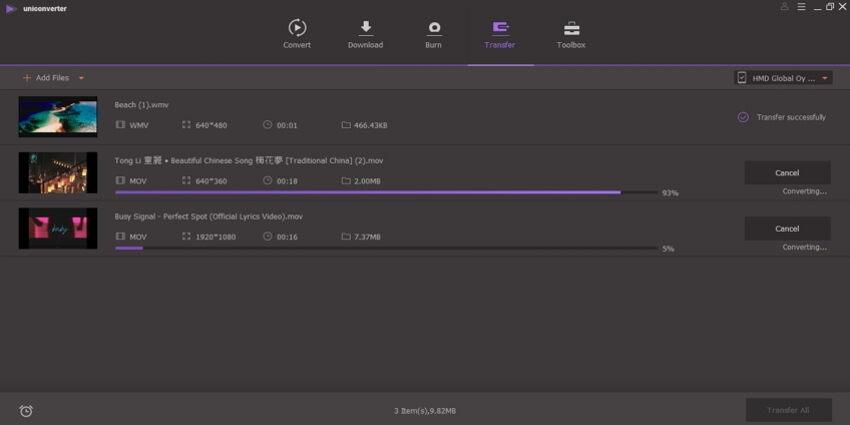 transfer imovie files by Uniconverter