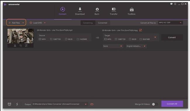 import video wondershare UniConverter