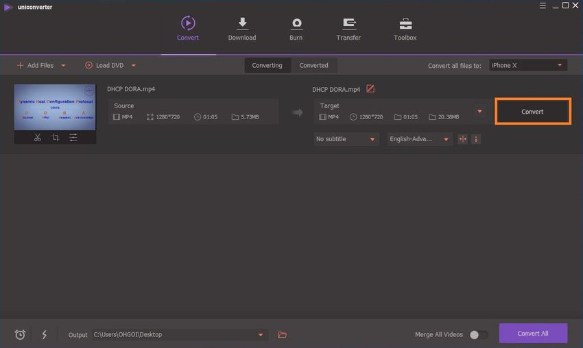 select an output folder
