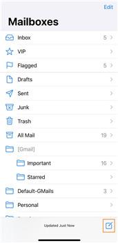 lançar e-mail no iphone