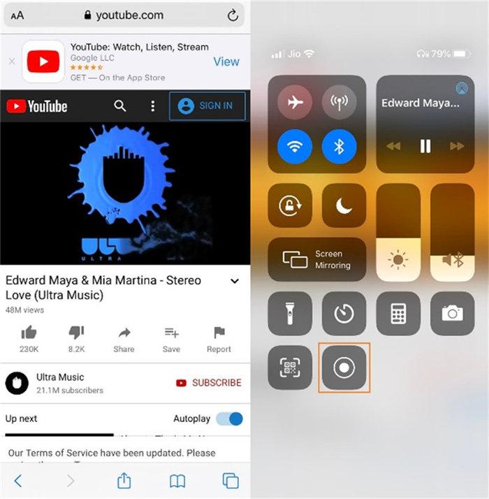 gravar vídeo do youtube no iphone
