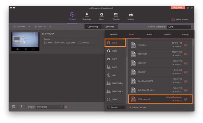 select the custom preset