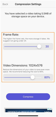 resize a video on iphone