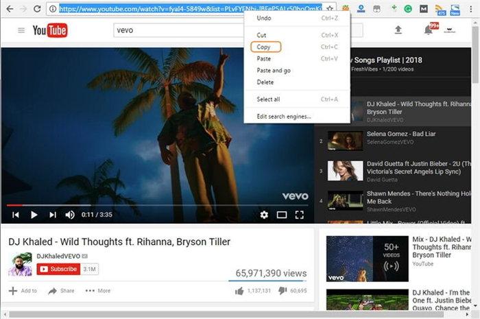 copy youtube url
