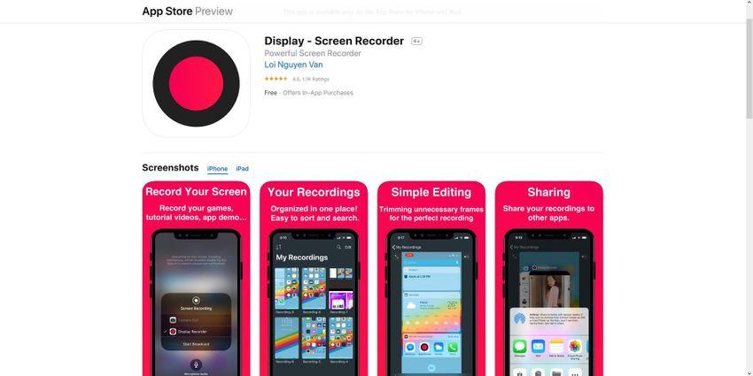 registro de tela de exibição iphone