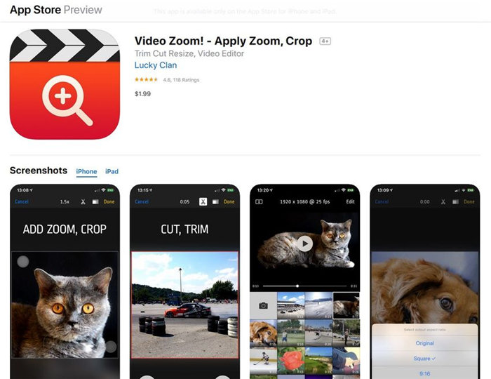 how to zoom in on iphone video