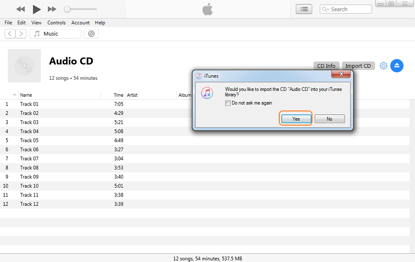 convert CD to MP3 iTunes - step 2