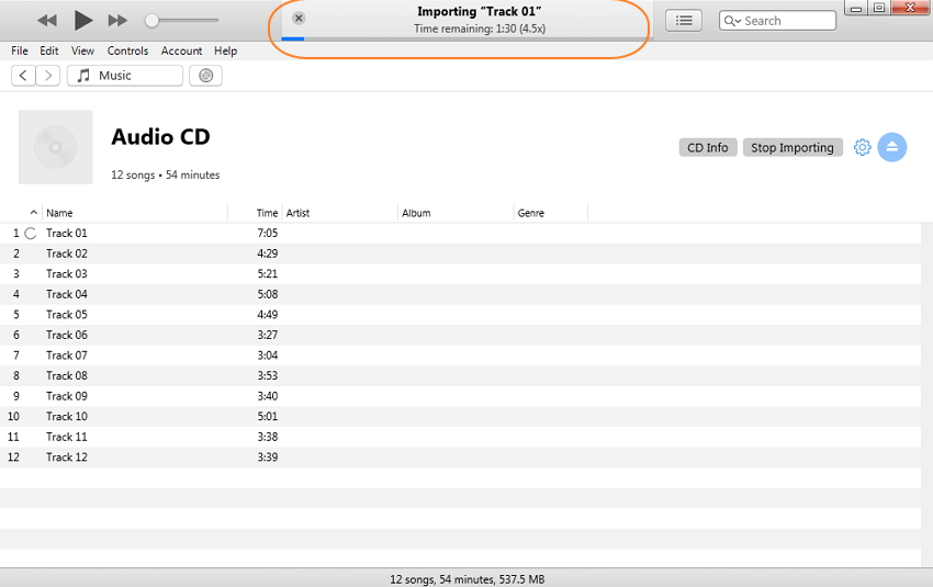 convertir un CD en MP3 iTunes - étape 3
