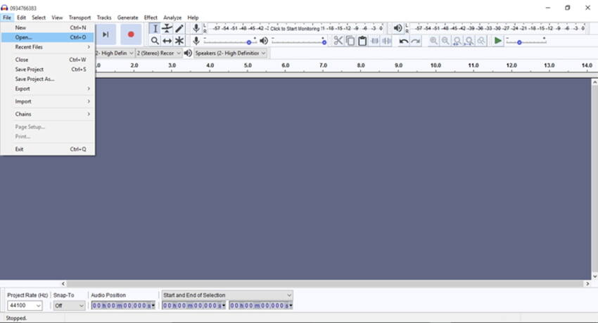 Open M4A file with Audacity