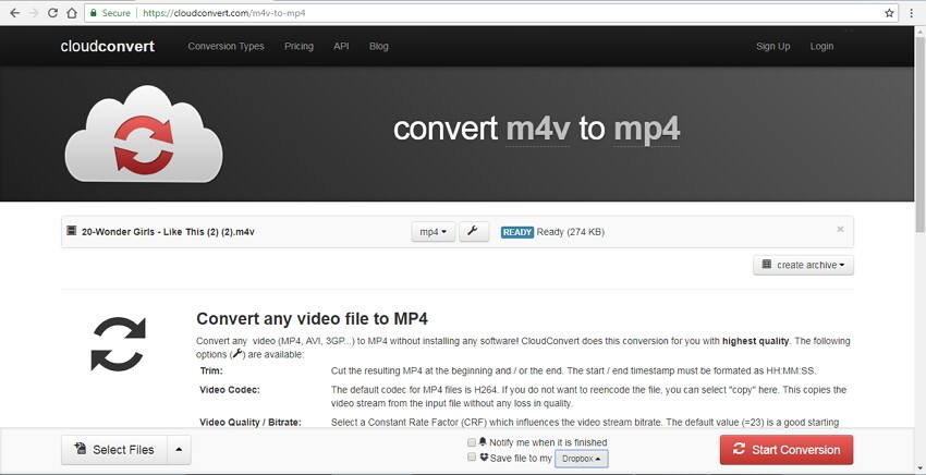 m4v to mp4 converter online Cloud Convert