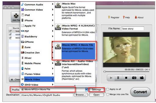 edit m4v in imovie