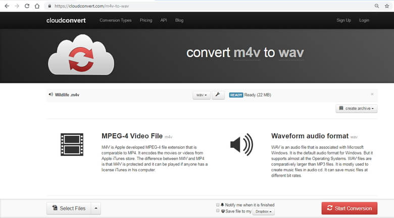 convert M4V to WAV online - convertio