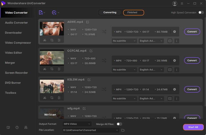 converter arquivos MPEG/MP4 com o wondershare uniconverter
