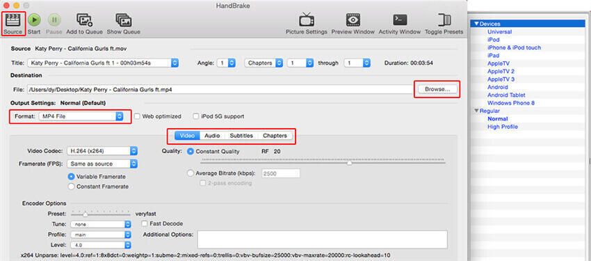 convertitore video gratuito per mac-handbrake