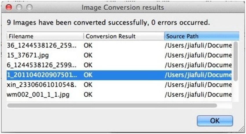 Enregistrer les fichiers JPEG convertis