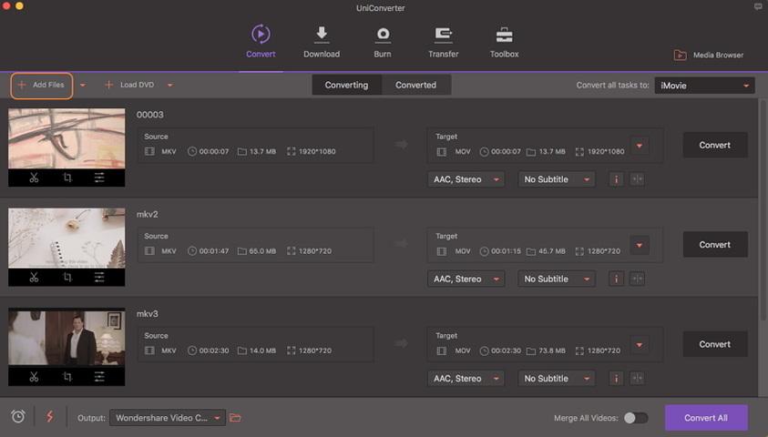 convert mkv to imovie -add files