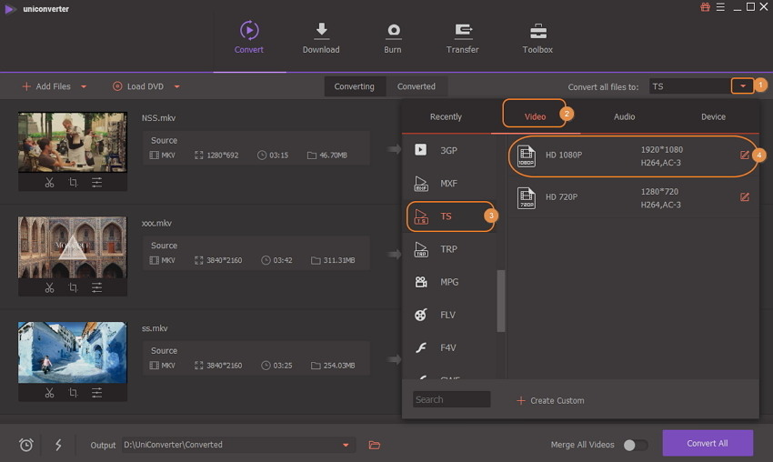 convert mkv to ts - choose format