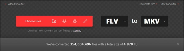 convert MKV to FLV online by Convertio