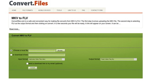 convert MKV to FLV online by Convert.Files