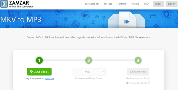 convert MKV to MP3 online by Zamzar