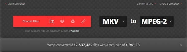 convert MKV to MPEG-2 by Convertio