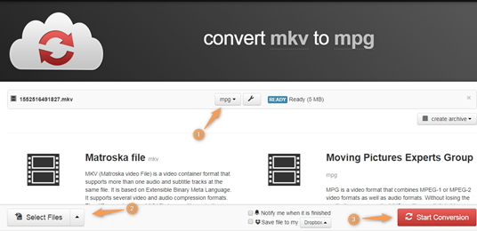 convert MKV to MPG by Cloudconvert