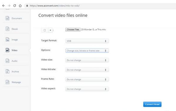 Convert MKV to VOB Online - AConvert