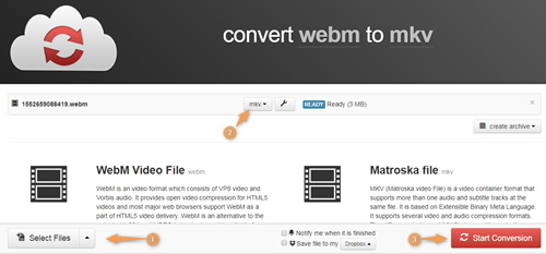 convert WebM to MKV by Cloudconvert