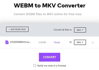 convert WebM to MKV by Online Uniconverter