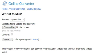 convert WebM to MKV by Onlineconverter