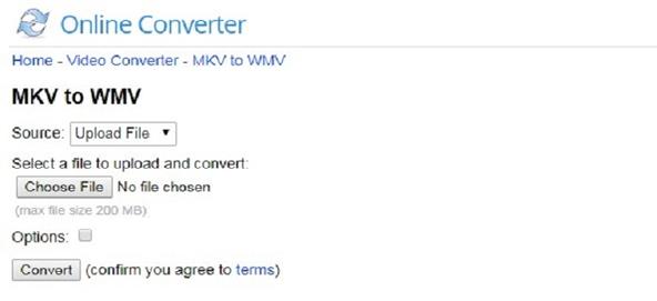 convert MKV to WMV by Online Converter