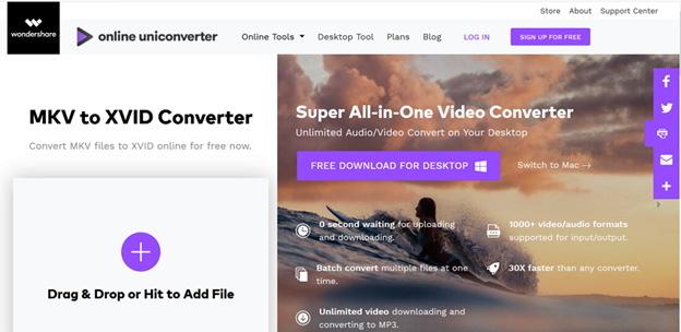 convert MKV to Xvid by Online MKV to Xvid Uniconverter