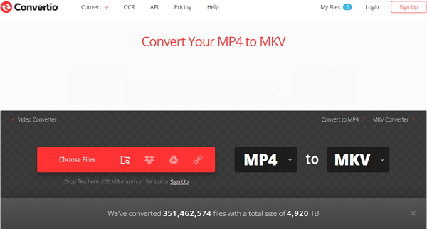 convert MP4 to MKV by Convertio