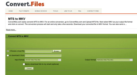 convert MTS to MKV by Convertifiles tool