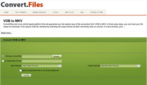 converter VOB para MKV pela ferramenta Convert.Files