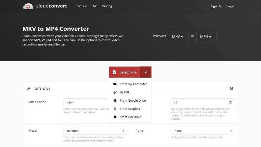cloudconvert convert mkv file to mp4