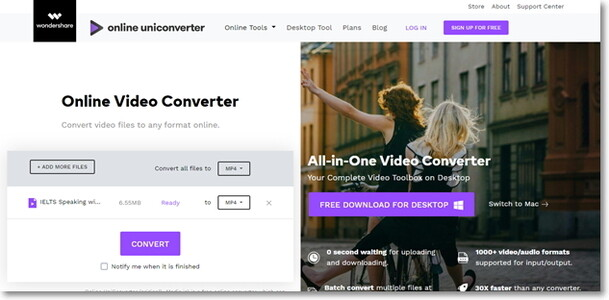 convert MKV to MP4 with subtitle by Online Uniconverter
