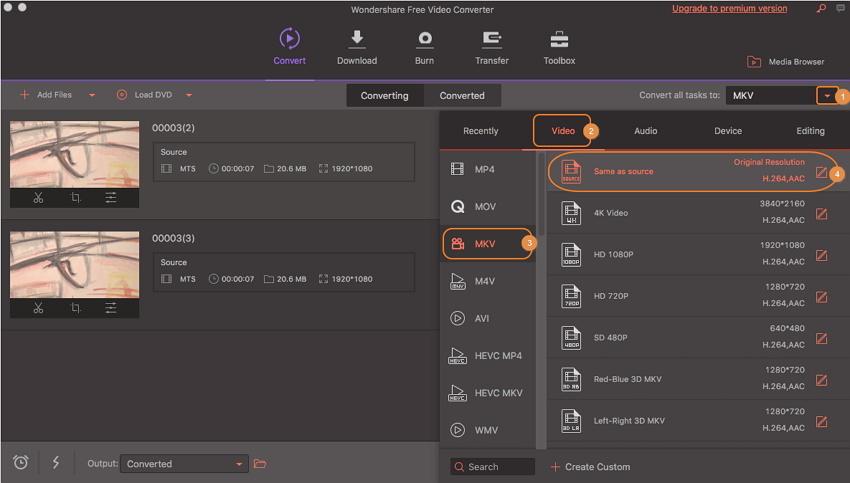 convert mts to mkv by wondershare free video converter