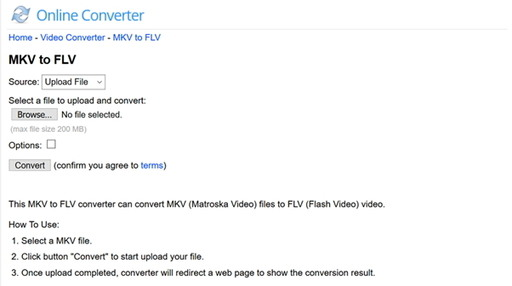 convert MKV to FLV online by Online MKV to FLV Converter