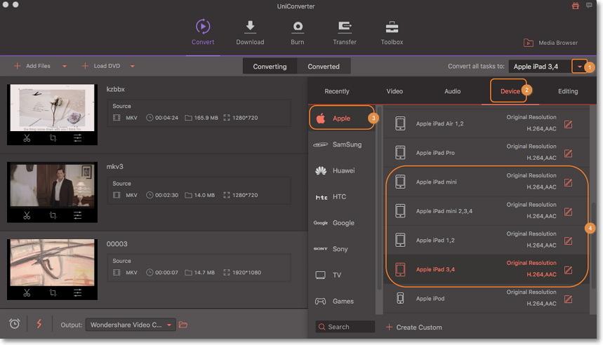 convert mkv to ipad - choose format