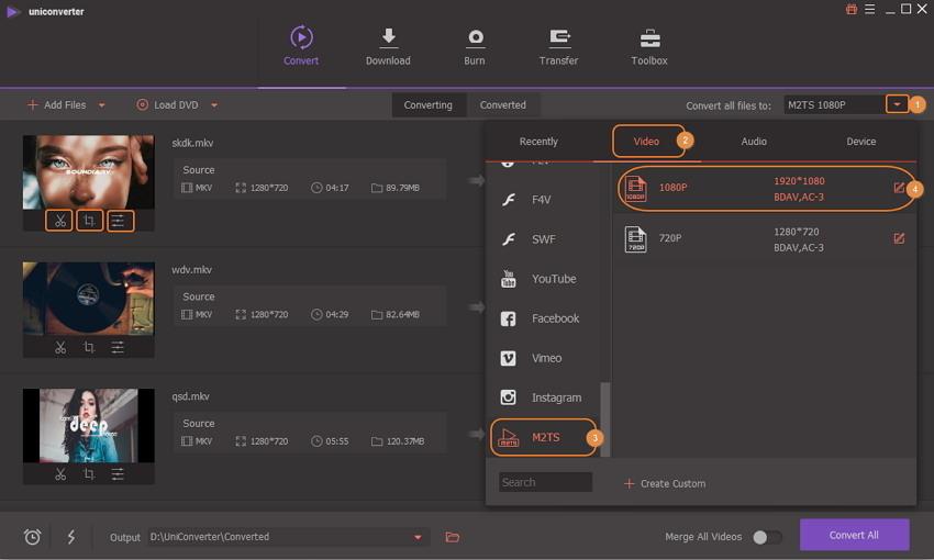 convert mkv to m2ts - choose m2ts format